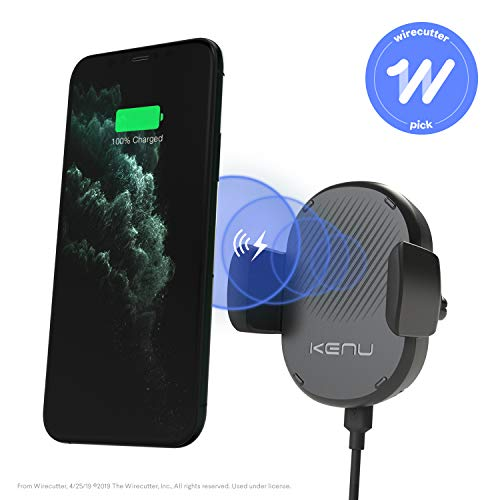 Kenu Airframe Wireless | Qi Fast-Charging Vent Car Mount | Wireless Car Charger, Compatible with iPhone 11 Pro Max/11Pro/11, iPhone Xs Max/Xs/XR/X, iPhone 8 Plus/8, Pixel 3XL/3, Samsung Galaxy | Black