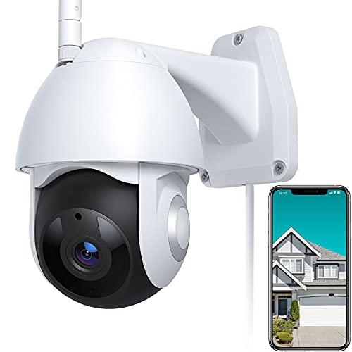 Telecamera WiFi Esterna, FHD 1080P Videocamera di Sorveglianza con Pan 355° e Tilt 90°, Visione Notturna, IP66 Impermeabile, Auto Tracking, Rilevamento del Movimento, Compatibile con Alexa