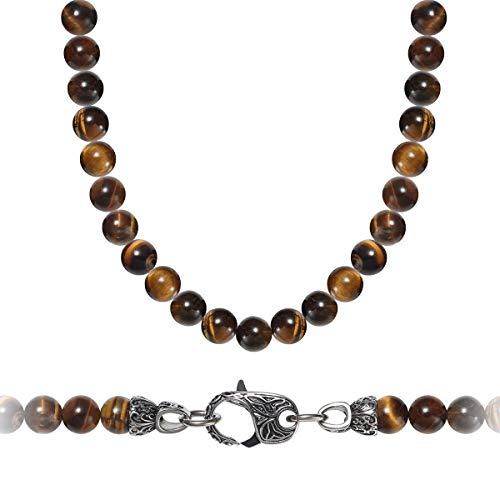 WESTMIAJW Mens Yellow Tiger Eye Beads Beaded Necklace Chain Natural Gemstones Healing Crystals Jewellery 60cm