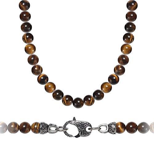 WESTMIAJW Men's Tigers Eye Bead Necklace