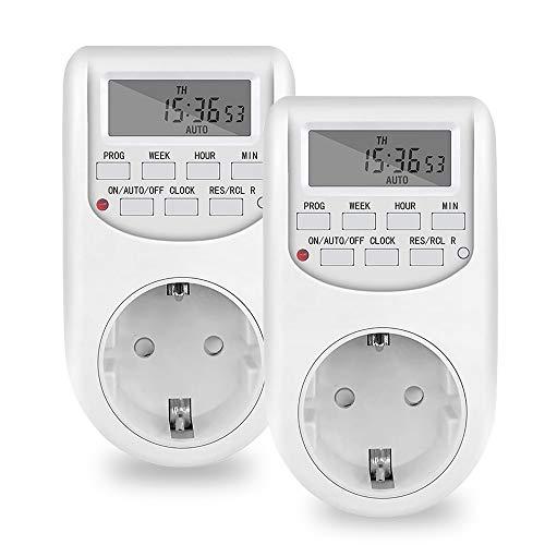 NICREW Temporizador Enchufe Digital Programable, Programador Enchufe Diario /10 A/2000 W Semanal Digital Timer Ahorro Energía, Electrodomésticos, Luz Acuario, Calentador de Agua (2 Packs)