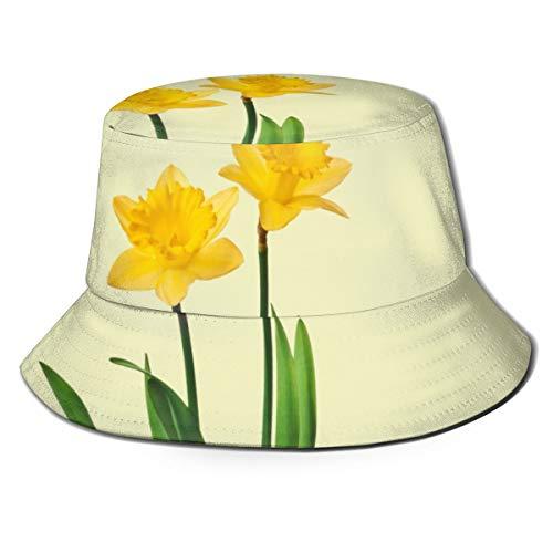 ghkfgkfgk Gelbe Frühlings-Narzissen-Narzissen-Schablonen-Eimer-Hut-Unisexsonnenhut-Fischer-verpackbarer Trave Kappen-Mode-im Freienhut
