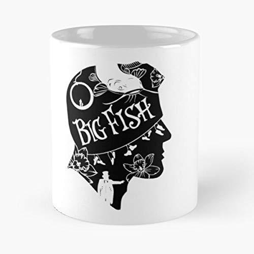 MIFUKO Movie Silhouette Big Tim Fish Burton La Mejor Taza de café de cerámica de mármol Blanco de 11 oz