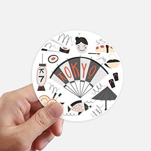 DIYthinker Sushi Geisha Japon Tokyo Japonais Autocollants 10CM Mur Valise pour Ordinateur Portable Motobike Decal 8Pcs diamètre 10Cm Multicolor