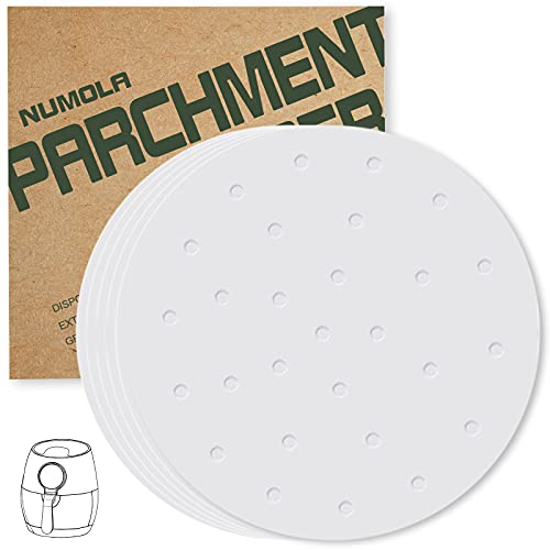 Numola Air Fryer Liners, 8 Inch 100 PCS Perforated Parchment Paper Compatible with COSOR, GoWISE USA, Ninja, Ultrean, Chefman, Innsky, Dash, OMORC, BELLA, Secura and More 3.4-7QT Air Fryer