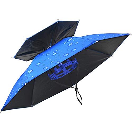 SJBD-Coaster Sombrero de Paraguas de Pesca para Adultos, niños, Mujeres, Hombres, Sombrero de Paraguas a Prueba de Viento con Banda elástica para Acampar en jardinería al Aire Libre