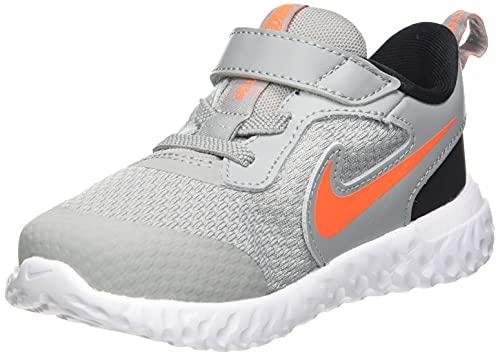 Nike Revolution 5 (TDV), Zapatillas Deportivas Unisex bebé, Light Smoke Grey/Total Orange-Negro, 22 EU