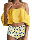 Tempt Me Women Pineapple Two Piece Swimsuit High Waisted Bikini Off Shoulder Ruffle Bathing Suits S