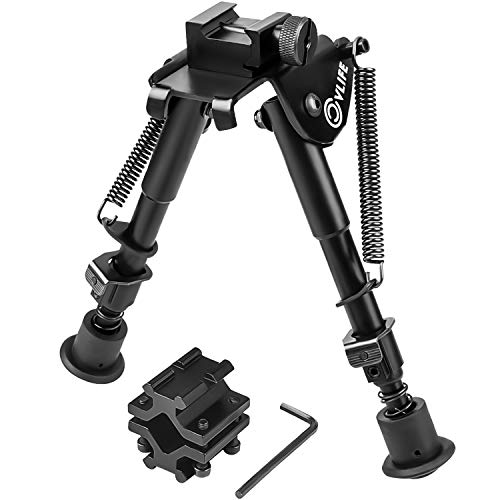 CVLIFE 6-9 Inches Tactical Bipod Quick Release Bipod Adjustable Spring Return with Picatinny Weavor Barrel Mount