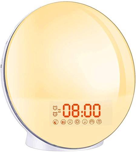 Wecklampen, Zifferblatt FM-Radio, Wecker, Dualalarm, 7 Farben, 8 Klingeltöne, Snooze-Funktion, Simulation Sonnenaufgang, Licht verstellbar mit Ladegerät