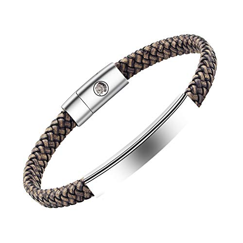Mens Leather Bracelet – Classic Handmade Braided Black & Brown Cuff Bracelet with Engraved Magnetic Clasp FREE Jewelry GIFT Boxed (Grey, 19)