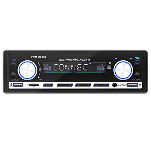 B Blesiya Radio Estéreo para Coche Reproductor de MP3 AUX Bluetooth FM Reproductor de Doble USB 2.1A Luz Azul