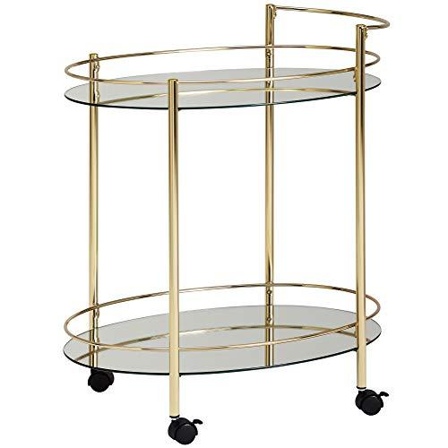 FineBuy Design Servierwagen Gold 67x79 cm Mobile Mini Bar | Beistelltisch auf Rollen | Speisewagen mit Glasplatte Weiß | Küchenwagen | Teewagen mit Milchglas