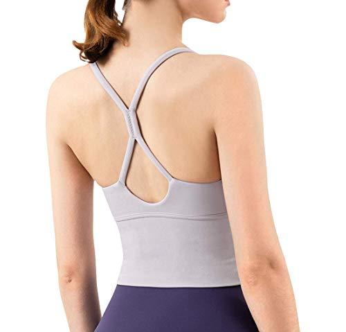 EDENCOMERS Longline Camisole Crop Womens Tank Tops Wireless Seamless Sport Bra Yoga Workout Shirt for Teen Girl
