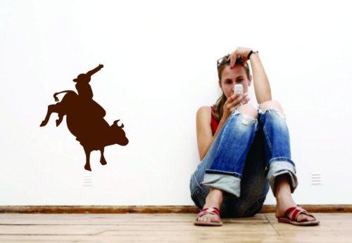 Wandaufkleber aus Vinyl, Motiv Bull-Rider, 40,6 x 40,6 cm, 22 Farben erhältlich