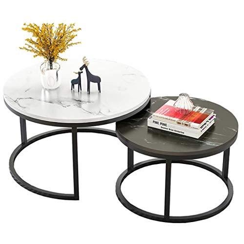 GJ Beistell-Tische, Modern Runde Couchtische, Metallrahmen Satztische, for Wohnzimmer, Schlafzimmer, Balkon, weiß Schwarz Tabelle (Color : A)