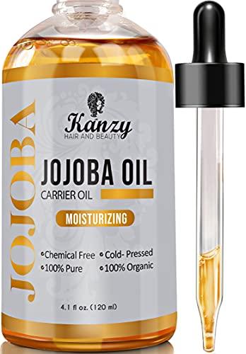Kanzy Huile de Jojoba Bio Pressee a Froid 𝟭𝟮𝟬𝐦𝐥 pour Visage, Corps, Cheveux, Ongles, et Peau 100% Pure et Naturelle Jojoba Oil Naturelle Hydratante pour Peau