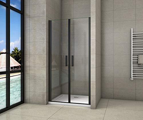 Cabina de ducha de nicho de 100x200cm,dos puertas giratorias, perfiles negros mate,vidrio de seguridad, antical,transparente de 8mm