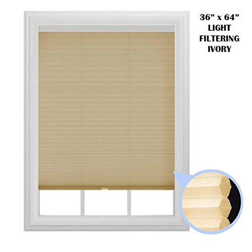 "36"" x 64"" Light Filtering Cellular Window Shade, Cordless, Trimmable (Ivory)"