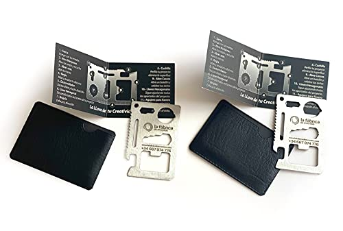 Kit de 2 tarjetas o herramientas multiusos, con cuchillo, llave inglesa, etc. ideal para personas creativas