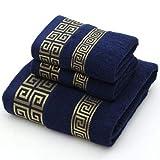 Siera - Juego de Toallas de algodón para Adultos, 2 Toallas de Mano faciales, 1 Toalla de baño, Color sólido, Azul, Blanco, Toalla de Felpa, Toallas Deportivas de Viaje, Azul, Paquete de 3 Toallas