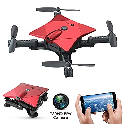 Lefant FPV Foldable Drone with 720P HD Camera, Mini Selfie Drones Live Video, Wi-Fi App Control Quadcopter, Trajectory Flight, Gravity Sensor, Headless Mode for Pro, Adult, Kids, Beginners