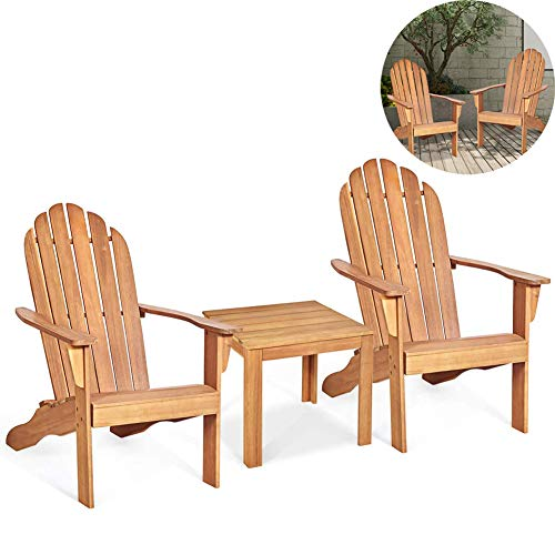 ZDYLM-Y Adirondack Chairs and Table Set, Weather-Resistant and Rust-Proof Outdoor& Indoor Tables and Patio Chairs, for Yard, Patio, 3 Pack