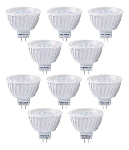10-Pack AC/DC 12V 5W MR16 LED Bulb - 50W Equivalent 5000K Daylight LED Spotlight - 340 Lumen 36 Degree Beam Angle GU5.3 Base for Home, Recessed, Accent, Landscape, Track Lighting