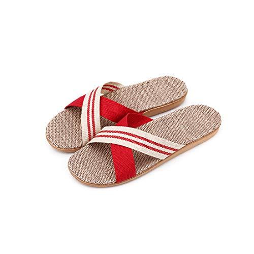 Zapatillas de Estar por Casa de Mujer/Hombre de Lino Zapatillas Interior Sandalias Unisex para Verano Primavera Otoño(Rojo,37-38)