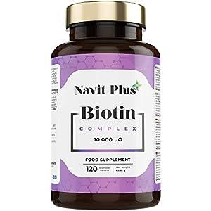 Biotina 10000mcg. Vitaminas de Biotina pura para fortalecer y evitar la caída del cabello. Ingredientes de máxima calidad para tener una piel, pelo y uñas más fuertes y sanas. 120 cápsulas vegetales.