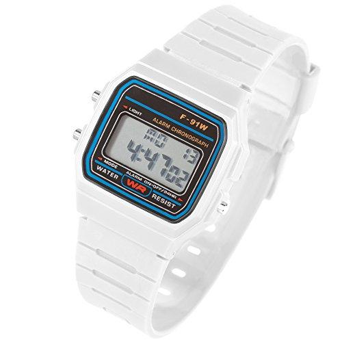Taffstyle Damen Herren Sportuhr Silikon Armbanduhr 80er Jahre mit Alarm Datum Kalender Viereckig Vintage Retro Digital Uhr Weiß