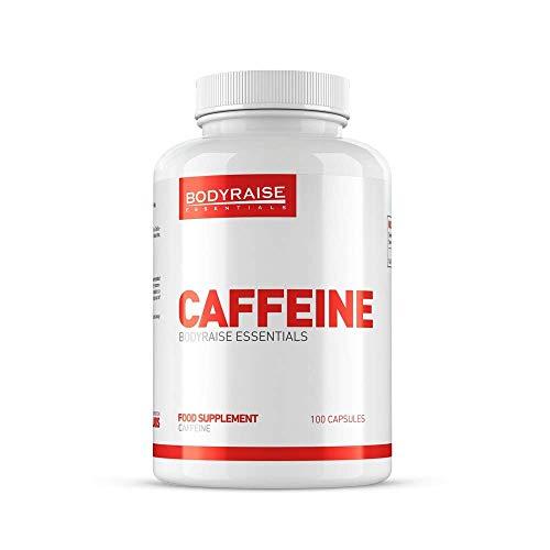 Bodyraise Suplemento de Cafeína - Aumenta la Concentración Mental, los Niveles de Energía, la Resistencia y el Rendimiento, 46 gramos, 100 Cápsulas, 50 dosis