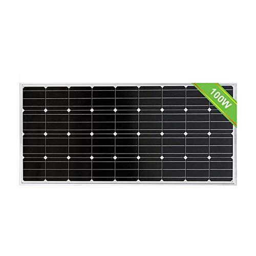 ECOWORTHY 100W Módulo fotovoltaico monocristalino con panel solar de 12 vatios para cargar una batería de 12 voltios en autocaravana Caravana
