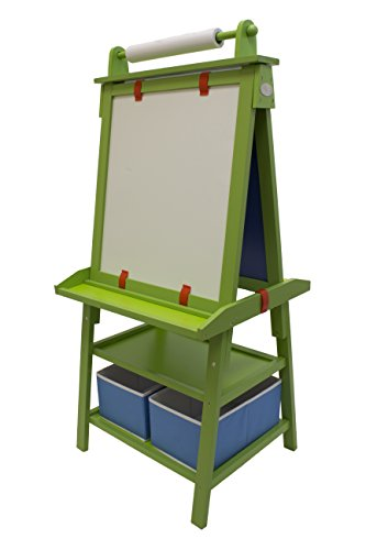Little Partners 2Sided AFrame Art Easel with Chalk Board Magnetic Dry Erase Storage Paper Feed and Accessories for Toddlers Apple Green