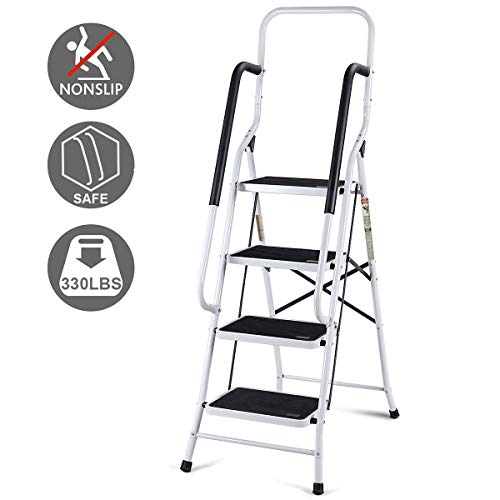 Giantex 2 in 1 Non-Slip Step Ladder Folding Stool w/ Anti-Slip Handrails Grip and Additional Metal Bars 4 Step Ladder for Home and Office Use 62.5''H