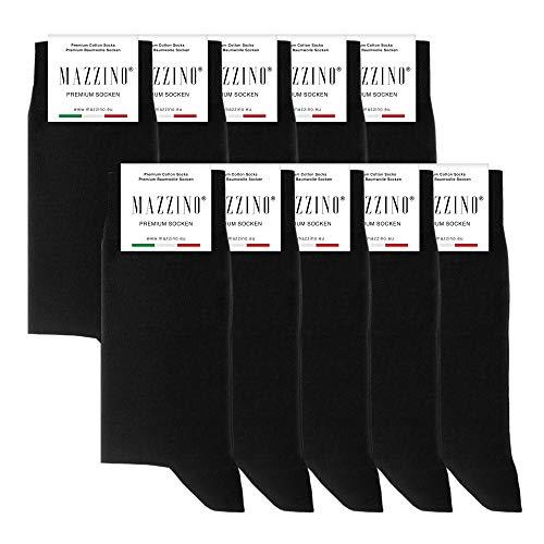 MAZZINO® Premium Socken gekämmte Baumwolle bequem ohne drückende Naht 1 | 5 | 10 Paar in Schwarz | Grau | Blau (Schwarz | 10er Pack, 39-42)