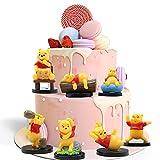 7 pcs Disney Pooh Figurines Wopin- Winnie the Pooh Birthday Cake Topper Pooh Honey Birthday Happy Brthday Cake Decoration Cake for Children