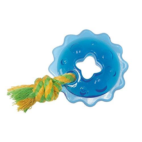 Petstages #238 Orka Mini Ring with Rope, Kauspielzeug für Hunde, Spielzeug blau