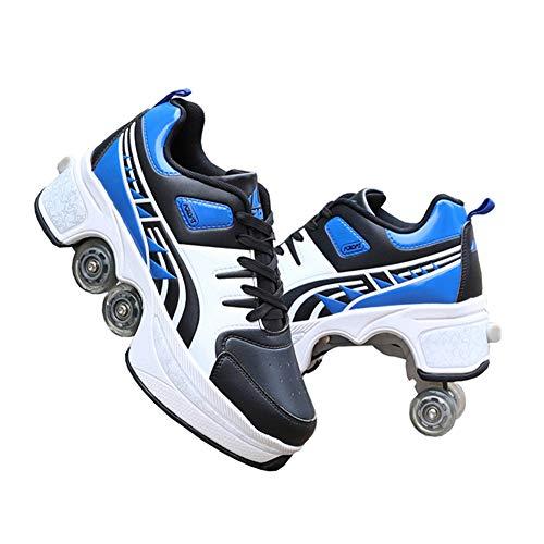 Pinkskattings@ Unisex-Kinder Fitnessschuhe Rollschuhe Sneaker Mit Rollen Heißer Neuer Fitness-Trend, Größe 35-43,41