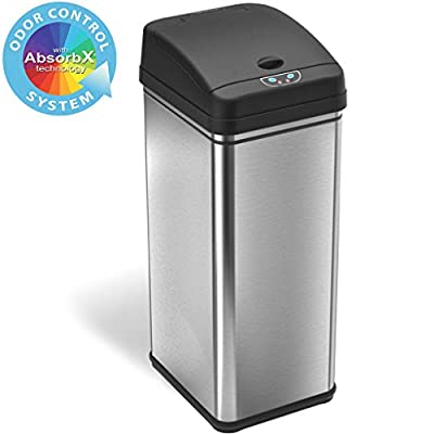iTouchless 13 Gallon Stainless Steel Automatic Trash Can with Odor Control System, Big Lid Opening Sensor Touchless Kitchen Trash Bin
