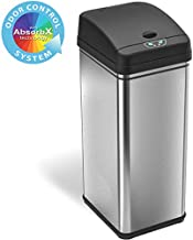 iTouchless 13 Gallon Stainless Steel Automatic Trash Can with Odor-Absorbing Filter, Wide Opening Sensor Kitchen Trash Bin, Powered by Batteries (not included) or Optional AC Adapter (sold separately)