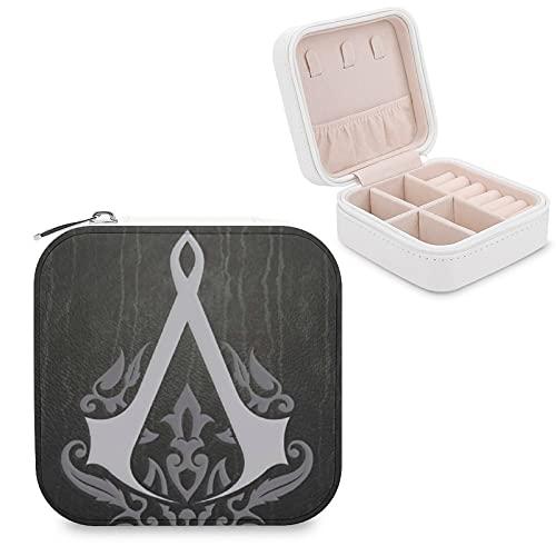Assassin's Creed Joyero de piel sintética de viaje portátil, para collar, pendientes, pulseras, anillos, relojes, caja de almacenamiento para mujeres