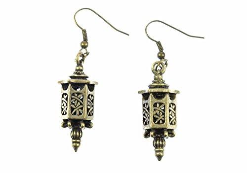 Miniblings Laterne Ohrringe Hänger Lampe Marokko Orientalisch Asiatisch Bronze - Handmade Modeschmuck I Ohrhänger Ohrschmuck in bronze