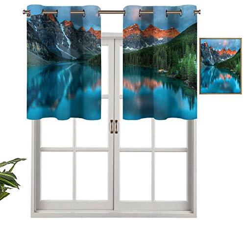 Cortinas opacas con aislamiento térmico y ojales cortos, cortinas con cenefas de morena en el parque nacional Banff, 2 unidades, 137 x 91 cm, cenefas pequeñas de media ventana para dormitorio