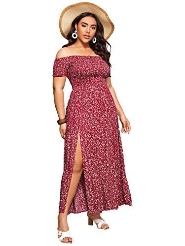 Floerns Women's Boho Floral Print Off Shoulder Split Long A Line Dress A Red Plus 1XL