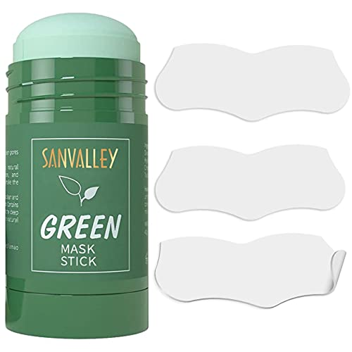 Green Tea Mask Stick Blackhead Remover Pore Strips Combo Pack, Green Tea Purifying Clay Stick Mask, 10 PC Blackhead Acne Remover Patches, Moisturizing Deep Cleansing Face Mask Kit