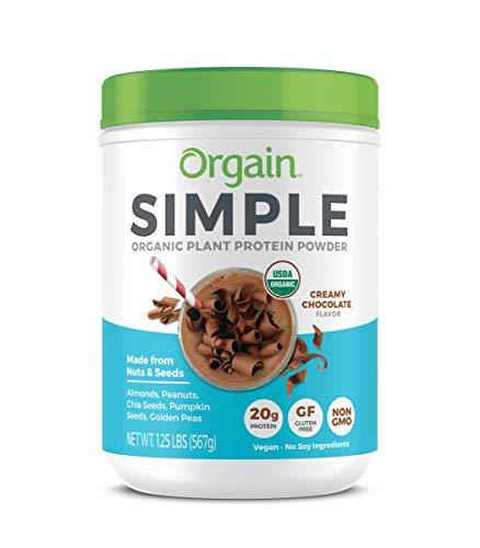 Orgain Simple Organic Plant Protein Powder, Creamy Chocolate - 20g Protein, Vegan, Dairy and Gluten Free, Stevia Free, Made with Fewer Ingredients, Kosher, Non-GMO, 1.25 Pound