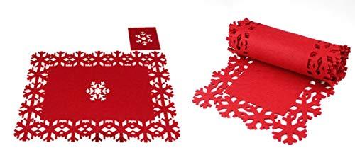 Set di biancheria da tavola natalizia in feltro rosso 9pce - Include 2 m di runner per fiocchi di neve, tovagliette e sottobicchieri di fiocchi di neve