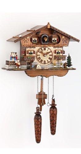 Trenkle Uhren Alemán Reloj de Cuco - Estilo Chalet - con Mecanismo de Cuarzo - 27 cm - Auténtico Reloj de Cuco del Bosque Negro
