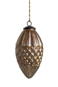 """Made from mercury glass Antique champagne finish 4. 75""""L x 4. 75""""W x 7. 75""""H Package Dimensions: 15.24 L x 27.94H x17.78W(centimeters)"""